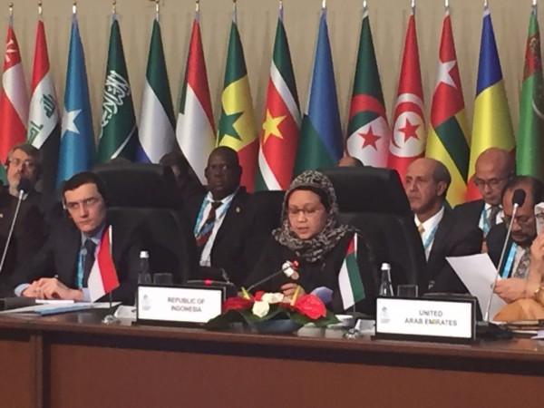 Menteri Luar Negeri RI, Retno Marsudi dalam pertemuan Council of Foreign Ministers dalam rangka persiapan Konferensi Tingkat Tinggi (KTT) ke-13 Organisasi Kerjasama Islam (OKI)
