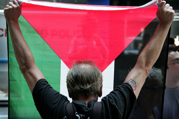 CHICAGO - JULY 17:  A Pro-Arab demonstrator holds a Palestianian flag during a rally supporting Israel's military action against Lebanon July 17, 2006 in Chicago, Illinois. Reportedly about 5,000 people gathered in the Federal Building Plaza in the city's downtown to show support for Israel while about 100 counter-demonstrators were kept by police across the street.  (Photo by Scott Olson/Getty Images)