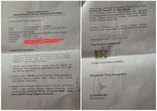 """Begini Isi """"Sumpah"""" Gloria yang Dikirim ke Presiden Jokowi"""