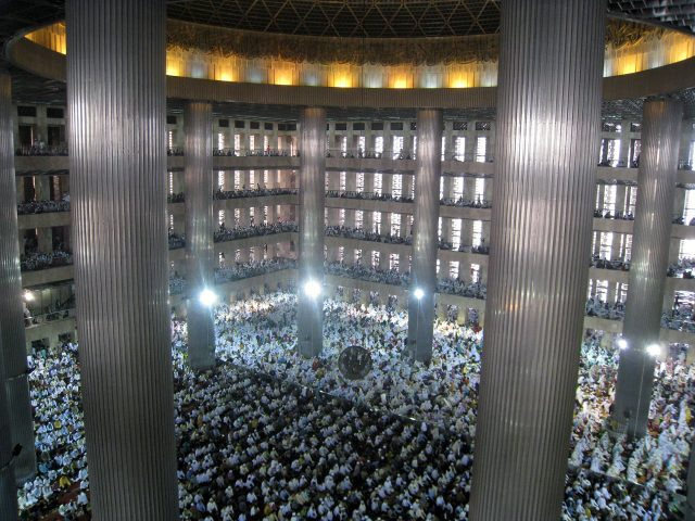 Thousands of the Indonesian muslims congregrated during Eid ul Fitr mass prayer in Istiqlal Mosque, the largest mosque in Southeast Asia, located in Central Jakarta, Indonesia.