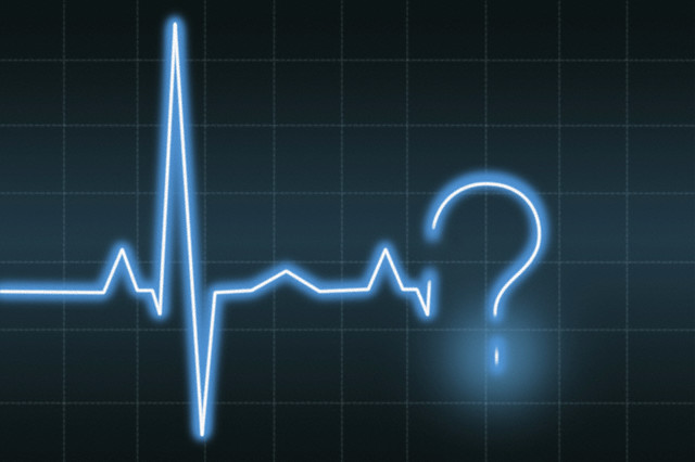 South Africa --- A heart monitor screen with a question mark --- Image by © VStock LLC/Klaus Tiedge/Tetra Images/Corbis