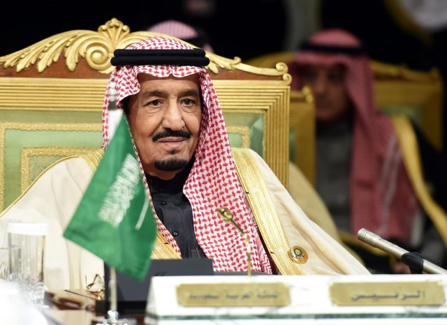 "Saudi King Salman bin Abdulaziz attends the second day of the 136th Gulf Cooperation Council (GCC) summit held in Riyadh, on December 10, 2015 as kings and emirs from six Gulf states began two days of talks, at the same time as unprecedented discussions by the Syrian opposition at a luxury hotel in another part of the city. Salman called for political solutions to the wars in Syria and Yemen, while condemning ""terrorism,"" at the opening of the annual Gulf summit. AFP PHOTO / FAYEZ NURELDINE / AFP / FAYEZ NURELDINE        (Photo credit should read FAYEZ NURELDINE/AFP/Getty Images)"