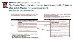 salah satu koreksi yang dilakukan Versi terkait artikel yang dimuat mingguan The Sunday Times