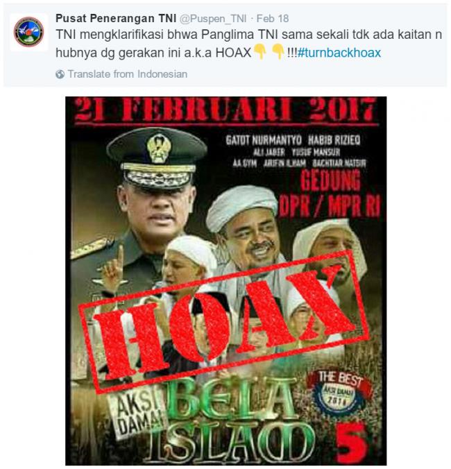 Viral di Medsos, Poster Aksi 212 Jilid 2 Muat Foto Panglima TNI Dipastikan Hoax