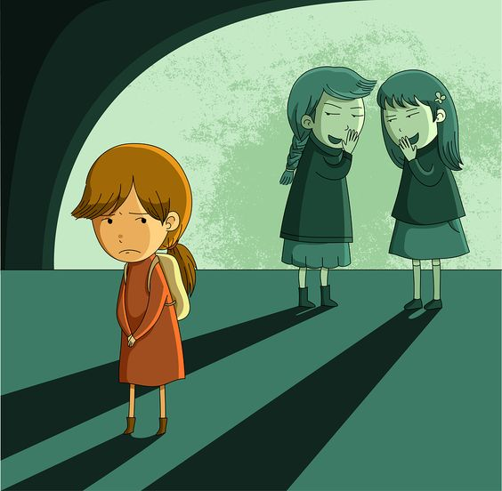 little girl being ostracized and bullied by other girls