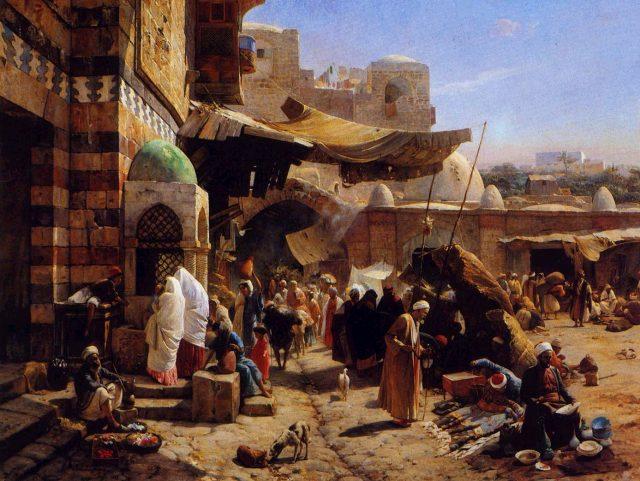 pasar arab kartun ilustrasi