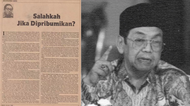 Tulisan Lawas Gus Dur Salahkah Jika Dipribumikan
