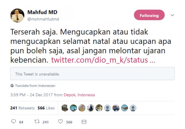 Twit dari Mahfud MD tentang himbauan untuk tidak melontarkan kebencian.