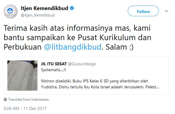 Tanggapan dari akun resmi @litbangdikbud