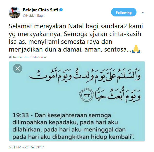 Twit ucapan natal dari Haidar Bagir
