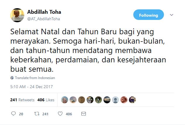 Twit ucapan natal dari Abdillah Toha