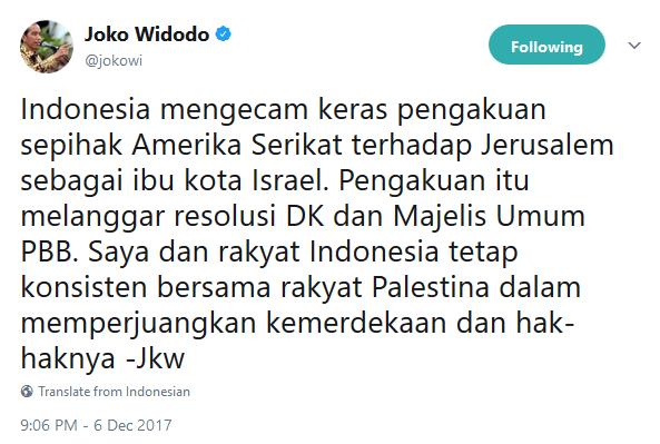 Twit resmi dari Jokowi mengenai pemindahan Ibu Kota Israel dari Tel Aviv ke Yerusalem