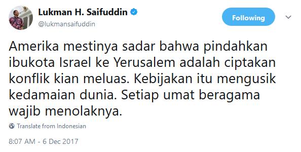 Pernyataan Mentri Agama Indonesia Lukman H. Saifuddin di Twitter
