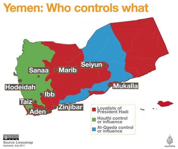 Peta kekuatan di Yaman. Infograpik: Al-Jazeera