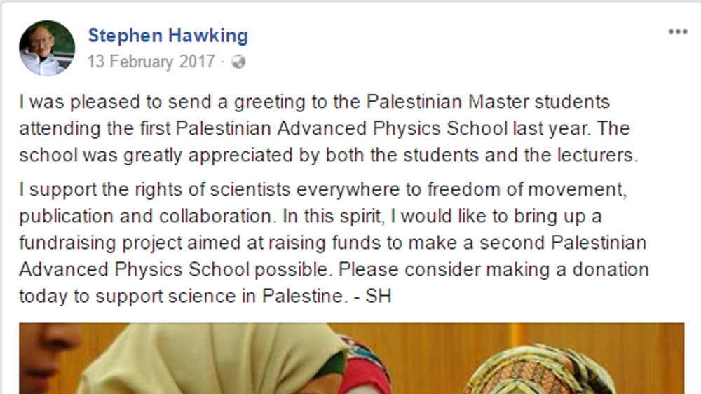 Screenshot laman Facebook Stephen Hawking yang mengajak orang-orang menggalang dana untuk Sekolah Fisika Lanjutan di Palestina.