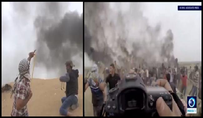 Demonstran Palestina Ketapel Jatuh Drone Militer Israel