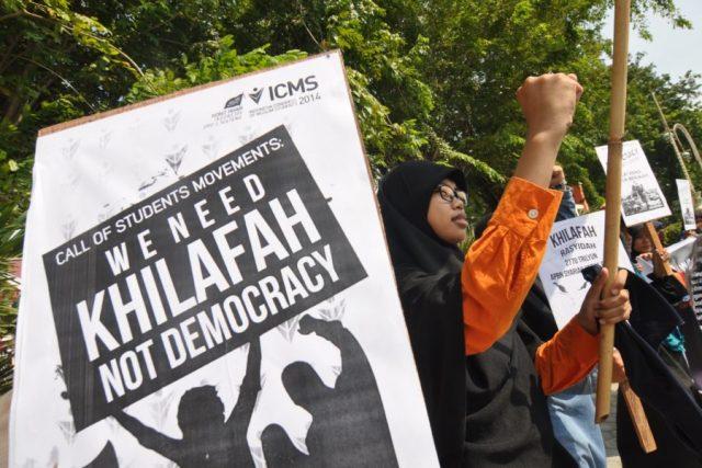 Massa Hizbut Tahrir Indonesia (HTI) dalam unjuk rasa di Palu, Sulawesi Tengah, Jumat (10/10/2014) | Mohamad Hamzah/Antara