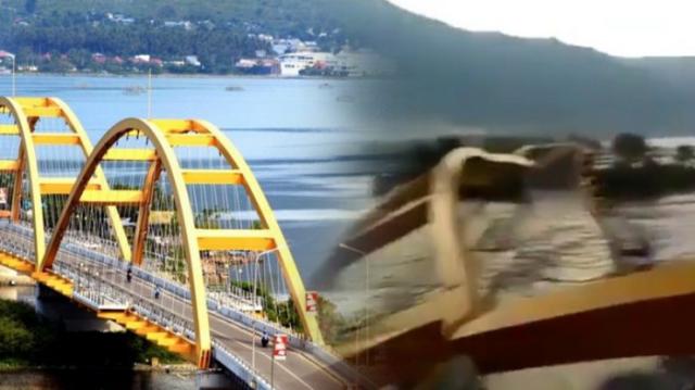 VIDEO — Detik-Detik Jembatan Kuning Ikon Kota Palu Runtuh Diterjang Tsunami