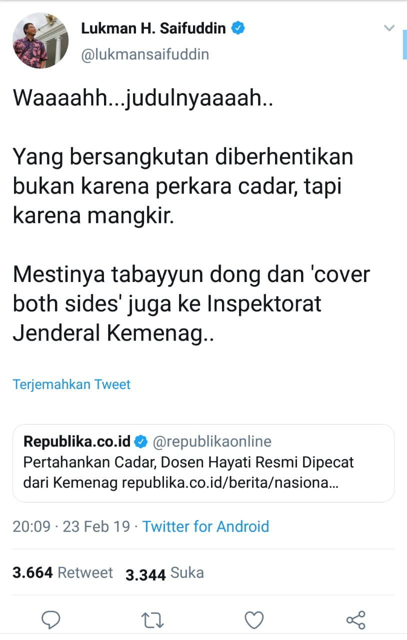 Sumber: Twitter @lukmansaifuddin, 23 Februari 2019, 20:09